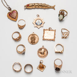 Group of Gold Rings and Charms