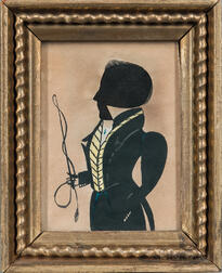 Hollow-cut and Watercolor Silhouette Portrait of a Man Holding a Riding Crop