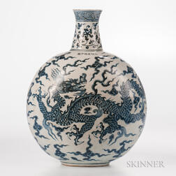 Large Blue and White Moon Flask Vase