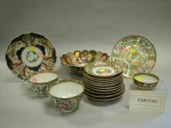 ApproximatelyThirty-four Chinese Export Porcelain Rose Medallion Cups, Saucers, Dishes and Three Imari Palette Porcelain Bowls.
