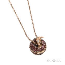 "18kt Rose Gold and Ruby ""Poison Apple"" Pendant Necklace, Stephen Webster"
