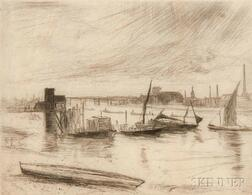James Abbott McNeill Whistler (American, 1834-1903)      Battersea Dawn (Cadogan Pier)