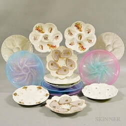 Fourteen Porcelain and Glass Oyster Plates