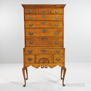 Carved Maple and Tiger Maple High Chest of Drawers
