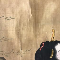 Hanging Scroll Depicting Two Beauties