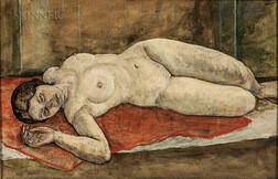 American School, 20th Century      Nude Reclining on an Orange Drape