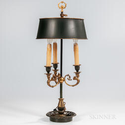 Louis XVI-style Gilt and Patinated Bronze Bouillotte Lamp