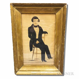 Framed Watercolor on Paper Portrait of a Gentleman with a Book