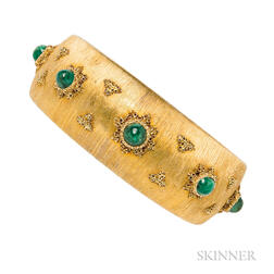 18kt Gold and Emerald Cuff Bracelet, Buccellati