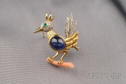 18kt Bi-color Gold and Gem-set Bird Pendant/Brooch