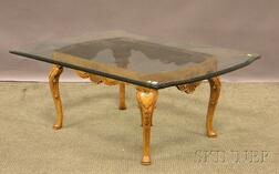 Country Queen Anne-style Glass-top Carved Oak Low Table