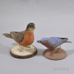 Two Frank Finney Carved Wood Birds