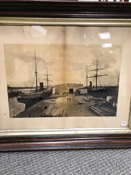 Framed A.H. Folsom Albumen Photograph of Boston Savannah Steamships