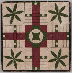 Painted Double-sided Game Board in White, Green, and Maroon