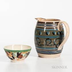 Slip-decorated Pitcher and Bowl
