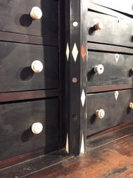 Small Ebony and Exotic Hardwood Whalebone-inlaid Cabinet