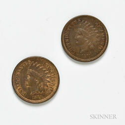 Two 1873 Open 3 Indian Head Cents