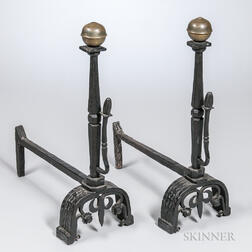 Pair of Iron and Brass Andirons
