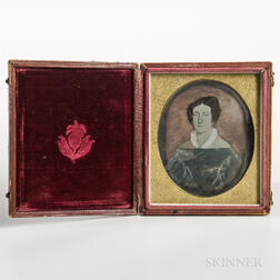 Sixth-plate Tinted Daguerreotype of a Folk Portrait of a Young Woman