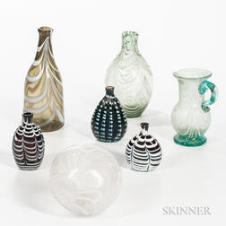 Six Nailsea Table Items and a Glass Ball