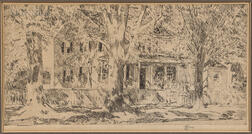 Childe Hassam (American, 1859-1935)      House on Main Street, Easthampton