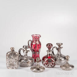 Seven Sterling Silver Overlay Glass Items