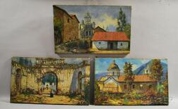 South American School, 20th Century      Three Landscapes Depicting Churches or Other Buildings.