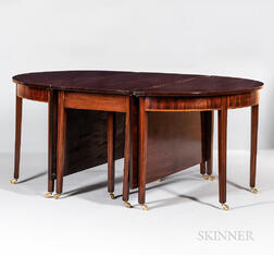 Federal Carved and Inlaid Mahogany Banquet Table