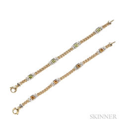 Pair of 14kt Gold Gem-set Bracelets