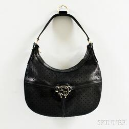 "Gucci Black Perforated Leather ""Reins"" Hobo Bag"