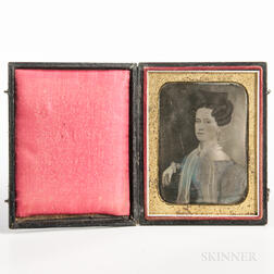 Quarter-plate Tinted Daguerreotype of a Folk Portrait of a Seated Woman