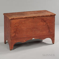 Salmon Pink- and Red-decorated Blanket Chest