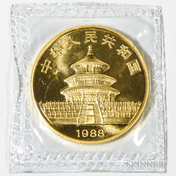 1988 Chinese 100 Yuan One Ounce Gold Panda.     Estimate $1,200-1,500