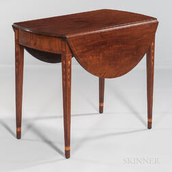 Federal Inlaid Mahogany Oval Drop-leaf Table