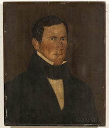 American School, Mid-19th Century      Portrait of a Man in a Black Jacket