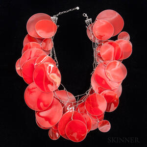 """Unusual Issey Miyake Red """"Potato Chip"""" Necklace"""