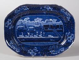 Historical Blue and White Transfer Decorated Staffordshire Pottery Platter