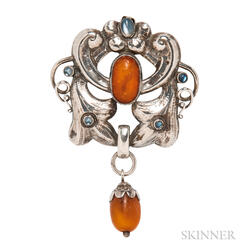 Skonvirke .830 Silver, Amber, and Moonstone Pendant/Brooch