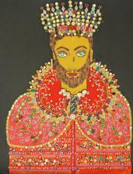Unframed Mixed Media on Canvas Portrait of a Man with Crown by H. Kenneth Hersh  (American, 20th Century)