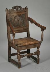 English Carved Oak Armchair