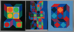 Victor Vasarely (Hungarian/French, 1908-1997)    Two Screenprints: VY-29-F