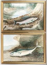 Two Framed Chromolithographs of Fish, After Samuel A. Kilbourne (American, 1836-1881) from Game Fishes of the United States
