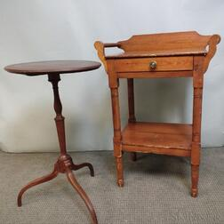 Federal-style Mahogany Candlestand and a Pine Washstand