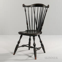 Black-painted and Gilt-decorated Brace-back Fan-back Windsor Side Chair