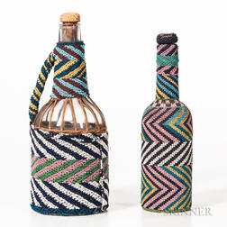 Two Bead-decorated Bottles