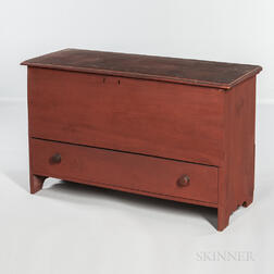 Red-painted Pine Chest over Drawer