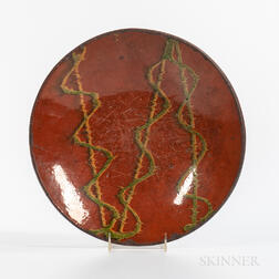 Large Slip-decorated Redware Plate