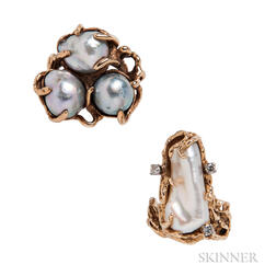 Two 14kt Gold and Pearl Rings