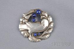 Sterling Silver and Lapis Bird Brooch, Georg Jensen