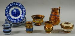 Eleven Pieces of English Copper Lustre and Flow Blue Tableware